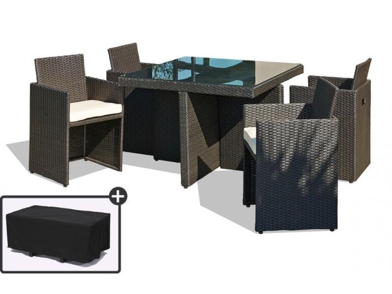 Table De Jardin Avec 4 Fauteuils Encastrables Noirs Et Une Housse De