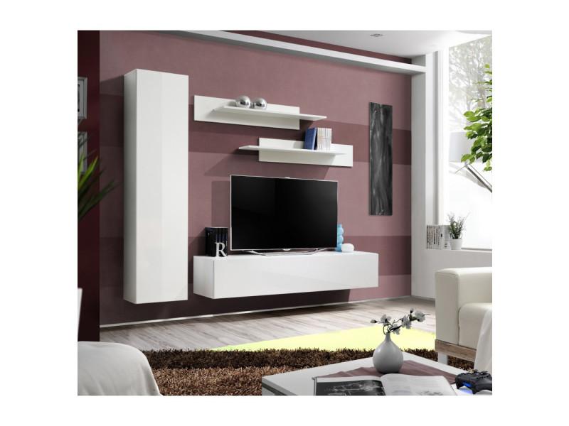 Ensemble meuble tv mural - fly i - 210 cm x 190 cm x 40 cm - blanc