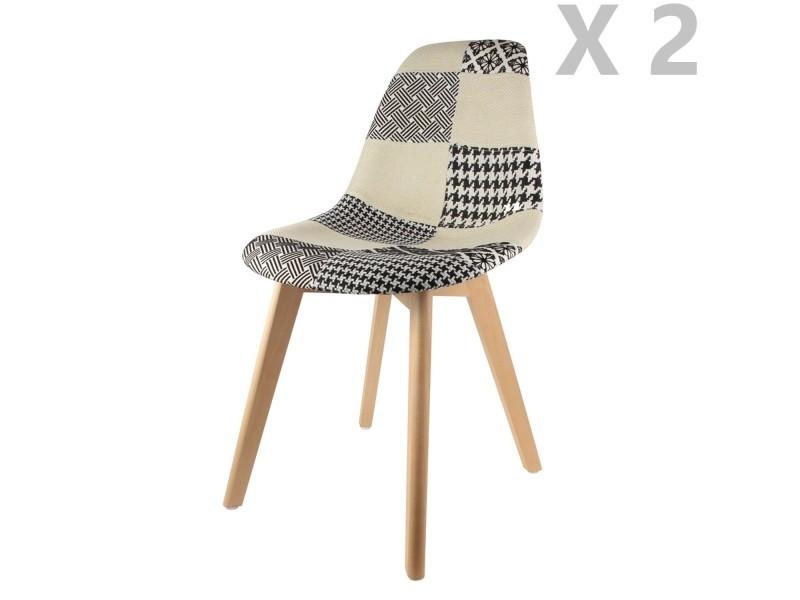 2 chaises scandinaves patchwork - noir et blanc