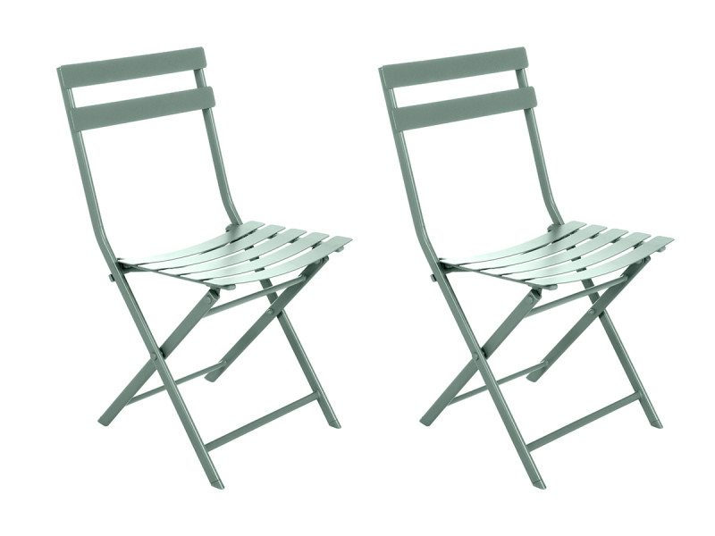Lot de 2 chaises de jardin métal pliante greensboro olive - hespéride