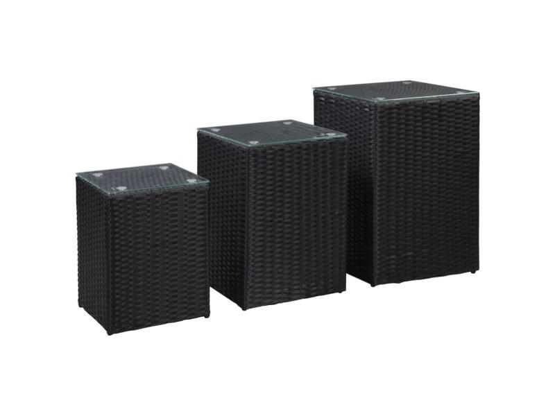 Esthetique tables basses et tables d'appoint collection madrid tables d'appoint 3 pcs et dessus en verre noir résine tressée