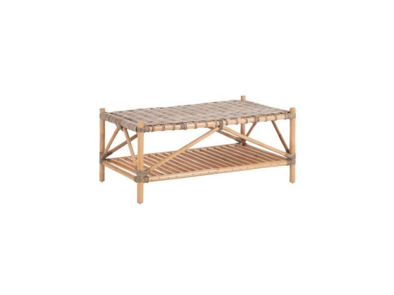 Table basse rectangulaire en rotin tressé - eke - l 100 x l 60 x h 40 - neuf