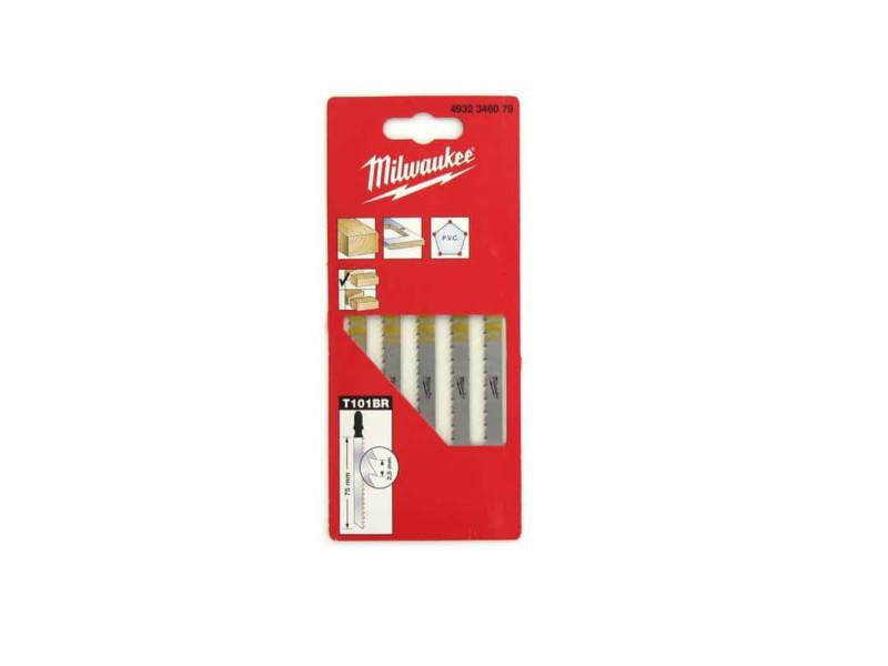 Pack de 5 lames scie sauteuse milwaukee mélaminé 75 mm denture de 2,5 mm 4932346079 MILWLAMSAUTT101