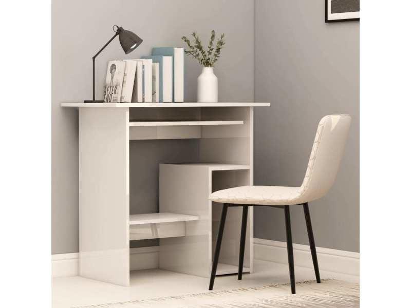 Superbe meubles de bureau selection alger bureau blanc brillant 80 x 45 x 74 cm aggloméré