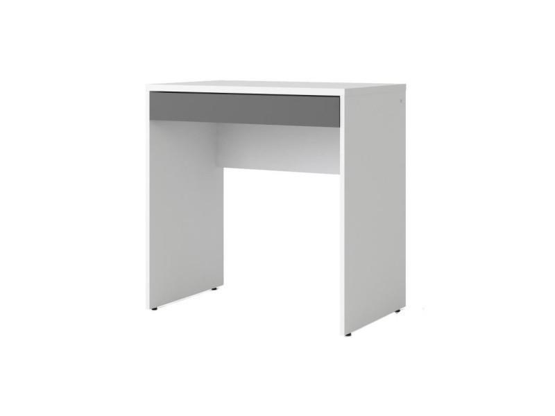 Function plus bureau contemporain décor blanc et gris l 75 cm