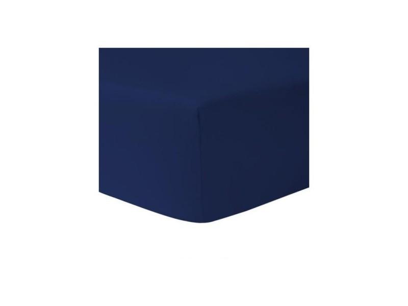 Drap housse 140 x 190 bleu marine