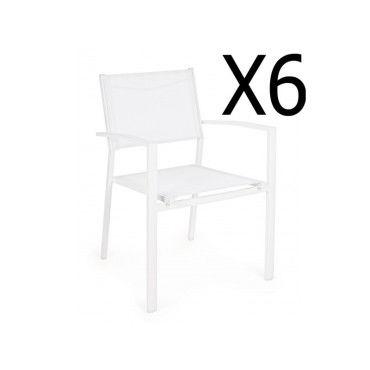 Lot de 8 chaises en polypropylène de couleur blanche, ht860