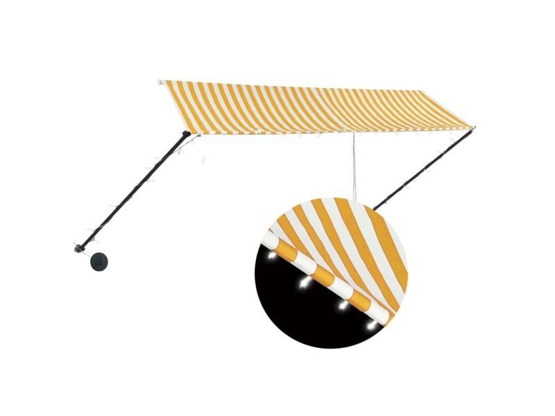 Vidaxl auvent rétractable avec led 350x150 cm jaune et blanc 145912