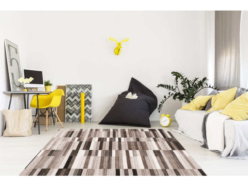 Tapis géométrique marron, dimensions : 80 x 150 cm, couleur : marron