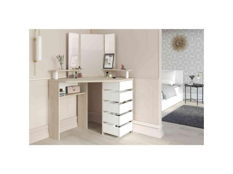Coiffeuse en bois chêne et blanc avec miroir et rangements