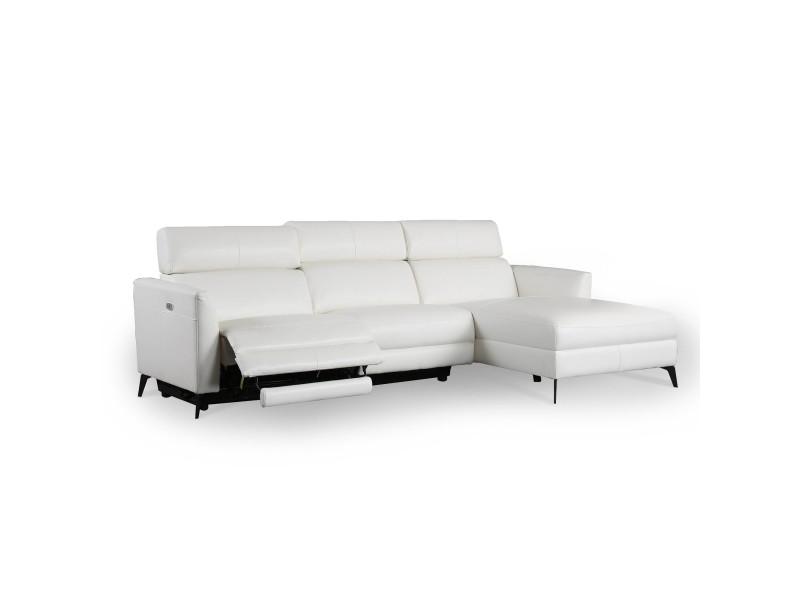 Canapé d'angle relax électrique blanc kiara