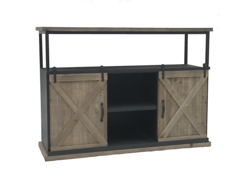 Console table bahut industriel à portes coulissante fer 120 cm x 87 cm x 38 cm
