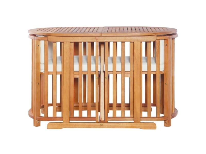 Icaverne - ensembles de meubles d'extérieur gamme mobilier de jardin 7 pcs bois d'eucalyptus massif