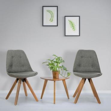 Iseo set de 2 chaises à coque rembourrée bois de bouleau