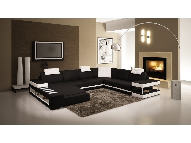 Canapé d'angle panoramique en cuir noir et blanc marcus (gauche)-
