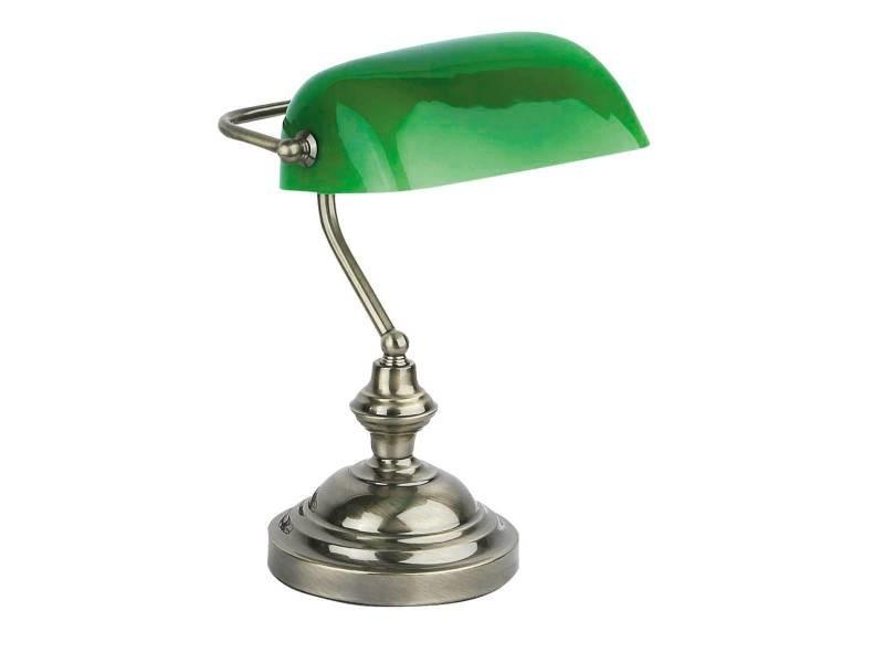 Lampe banker vert metal verre vente de lampe de bureau conforama