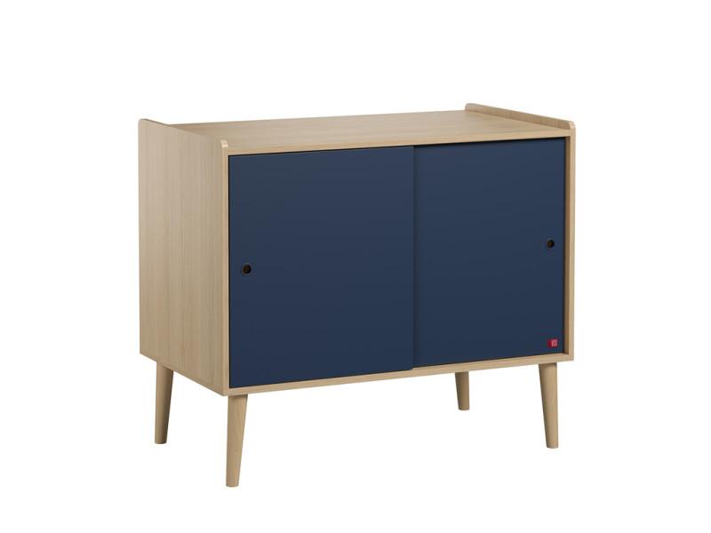 Commode 2 portes coulissantes retro - bois bleu