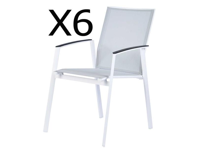 Lot de 6 fauteuils empilables en aluminium et polyester, coloris perle -pegane-