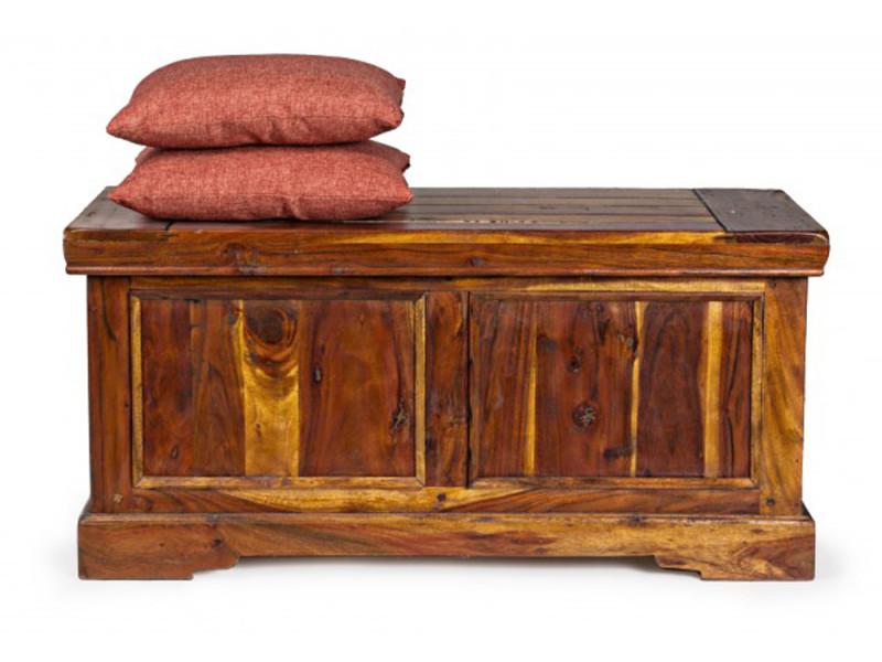 Banc coffre châteaux en bois d'acacia - dim : l 100 x p 46 x h 48 cm -pegane-