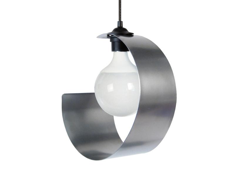 Suspension design lune argentée en métal vente de keria luminaires conforama