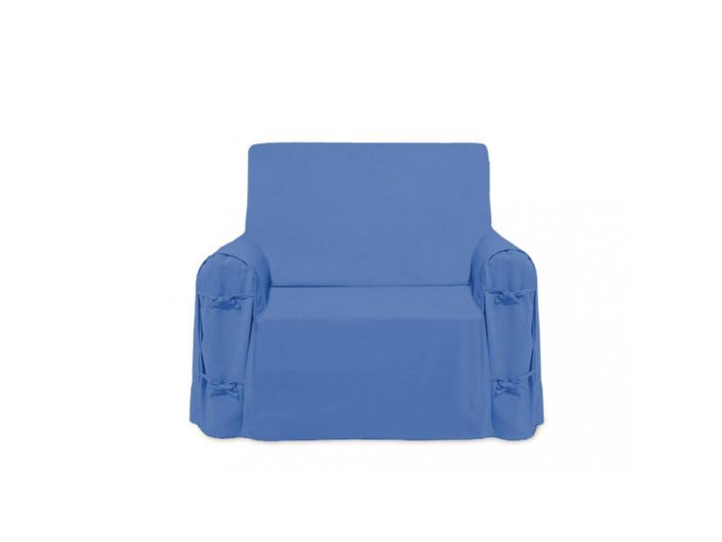 Housse De Fauteuil En Coton Panama Bleu Vente De Housse Et Structure De Canape Conforama