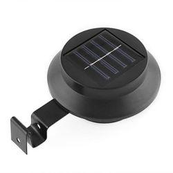 Spot solaire noir rond à 3 leds en plastique et fer