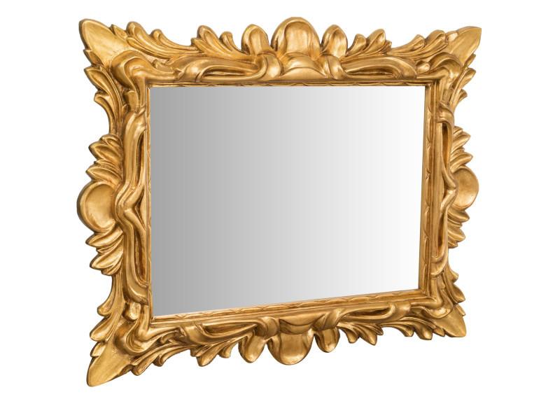 Miroir, long miroir mural rectangulaire, à accrocher au mur, horizontal et vertical, shabby chic, salle de bain, chambre, cadre finition or antique, grand, long, l143xp10xh118 cm. Style shabby chic.