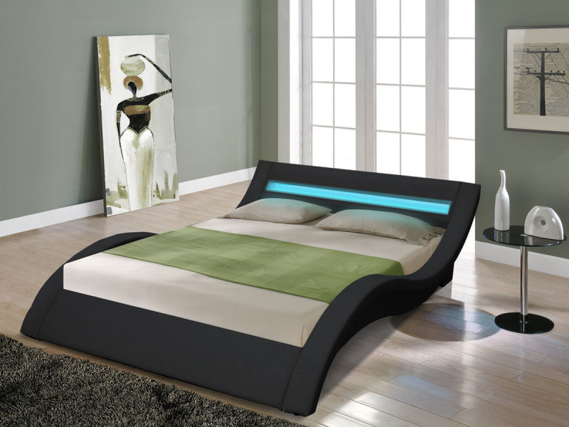 lit led barbara 160 x 200 cm noir vente de habitat et jardin conforama. Black Bedroom Furniture Sets. Home Design Ideas