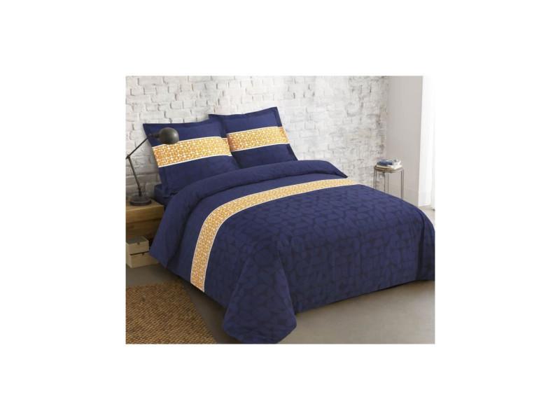 Parure de couette basile 100% coton - 220 x 240 cm - bleu marine et jaune VIS5425034093975