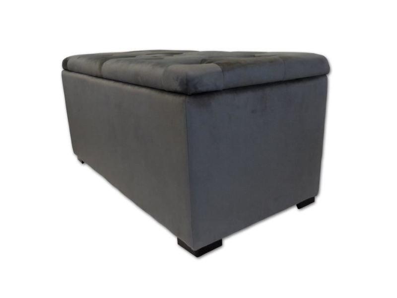 Pouf - poire banc coffre + 2 poufs velours chester - 85 x 44 cm et 35 x 35 cm - gris anthracite