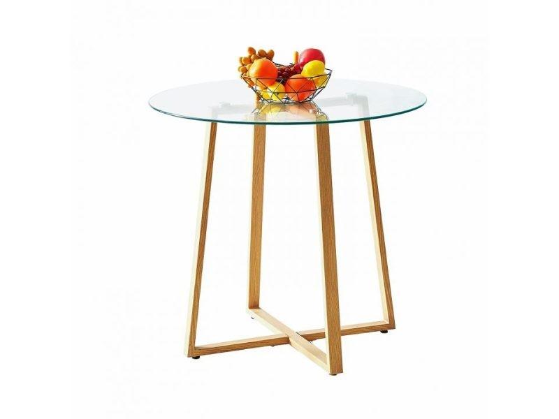 Table ¨¤ manger ronde verre bois h¨ºtre massif transparent scandinave design 80 * 80 * 75cm