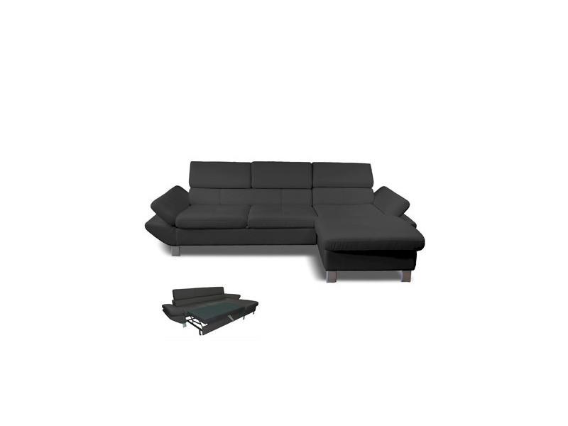 Canapé d'angle convertible à droite 3 places en pu gris anthracite