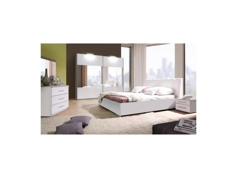 Ensemble lit design en simili cuir avec 2 chevets et une commode verona.  Meuble design pour chambre à coucher - Vente de Lit adulte - Conforama ea5bb1cd2e12