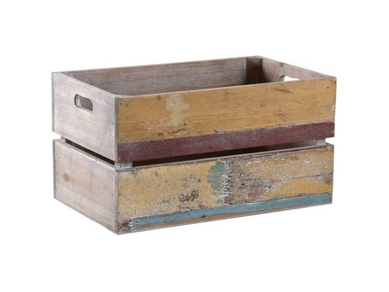 Caisse en bois recyclé multicolore