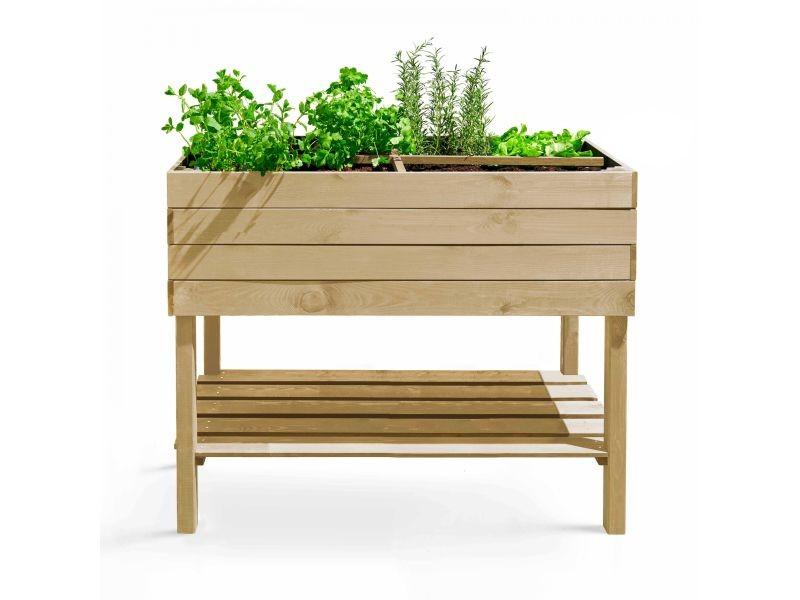 Potager rectangulaire en bois naturel - 110x50x80 cm - topi bois marron