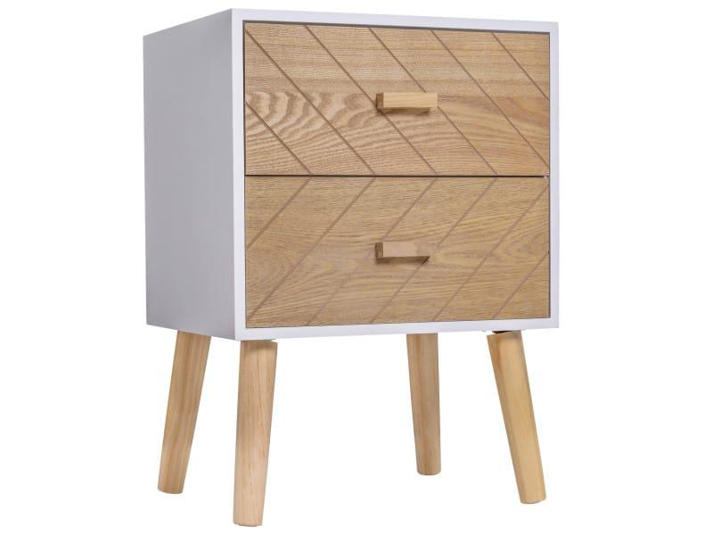 Chevet table de nuit design scandinave 40l x 30l x 56h cm 2 tiroirs bois massif pin mdf blanc et hêtre motif graphique