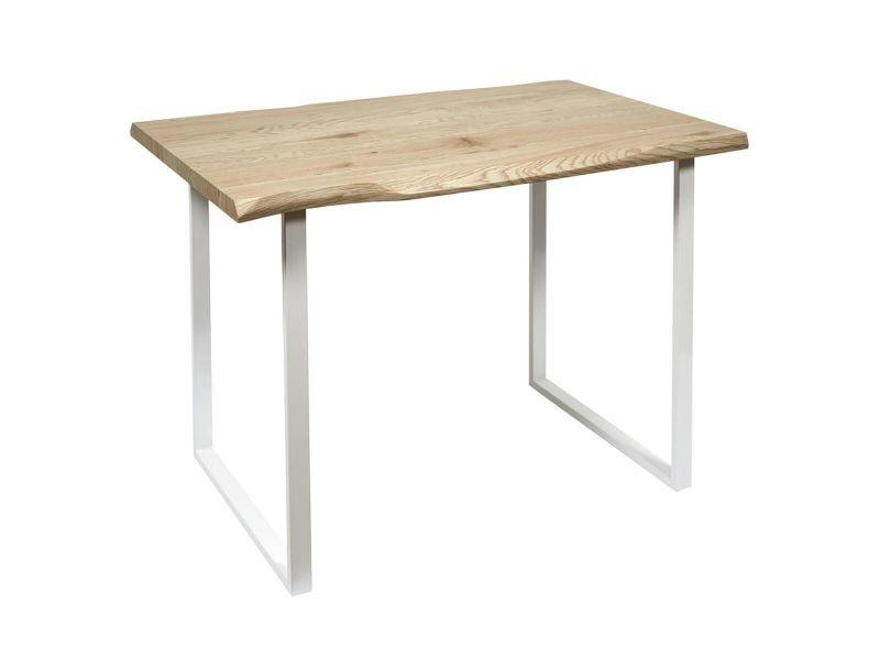Taola - table repas piètement métal blanc et plateau bois
