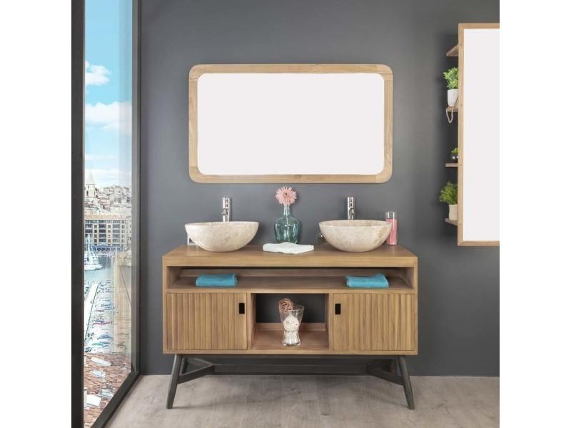 Meuble double vasque en teck mya 130 cm 31127 conforama - Meuble vasque salle de bain conforama ...