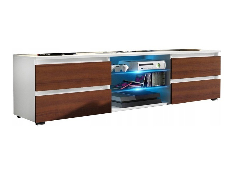 Meuble tv 150 cm blanc et aspect noyer mat + led rgb