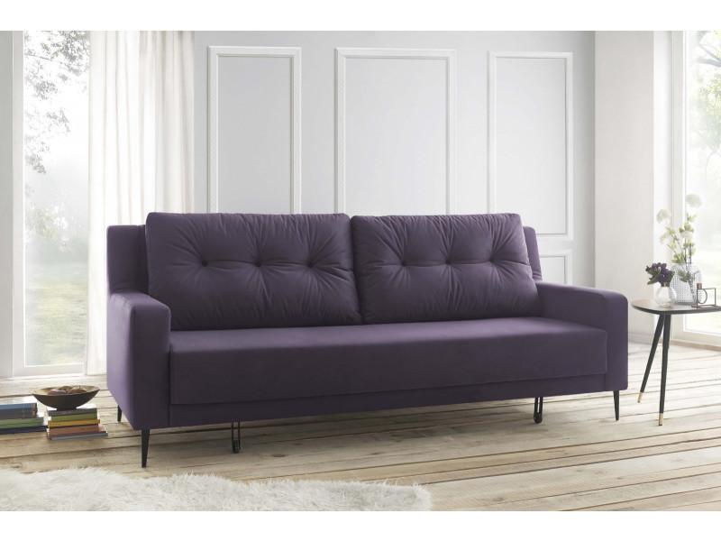 canape 3 places bergen convertible trinity toucher velours prune 5906395169887 vente de. Black Bedroom Furniture Sets. Home Design Ideas