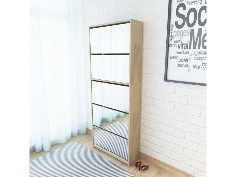 Inedit rangements pour armoires à vêtements ensemble madrid meuble à chaussures 5 étagères et miroir 63x17x169,5 cm chêne