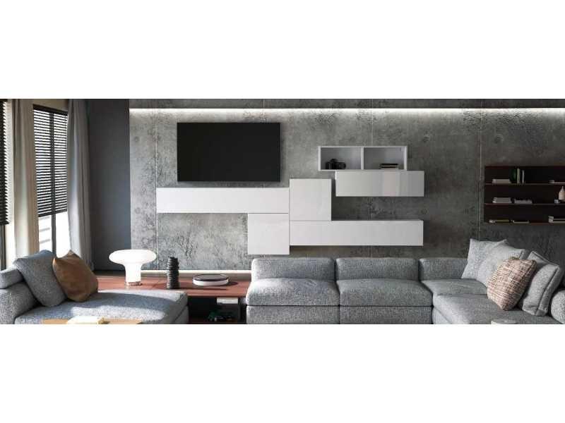 Ensemble de 6 meubles de salon suspendus blancs