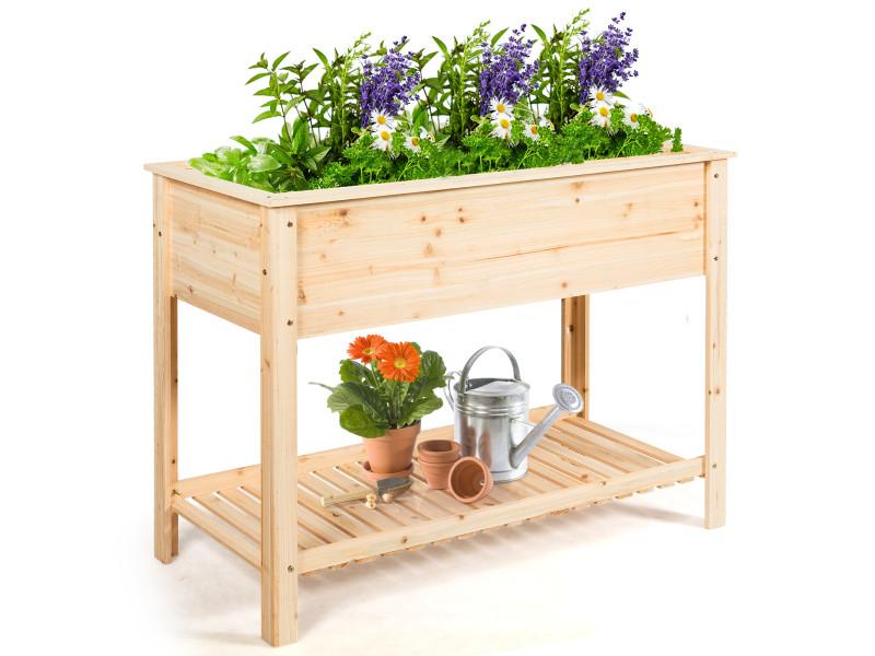 Giantex jardinière en bois, bac de culture surélevé avec étagère de rangement et hauteur ergonomique, idéal pour la croissance des plantes, fleurs, végétaux, 120 x 55 x 90 cm