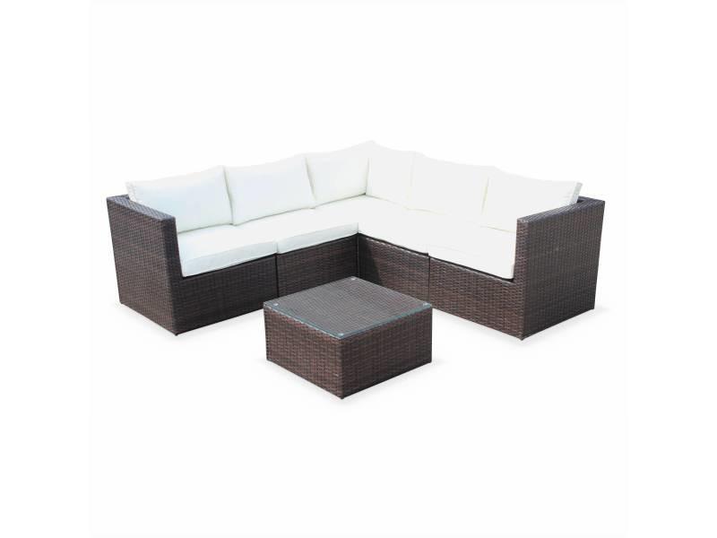 Salon de jardin résine tressée - siena - coloris chocolat. Coussins écrus. Structure aluminium. Canapé d'angle d'extérieur. 5 places