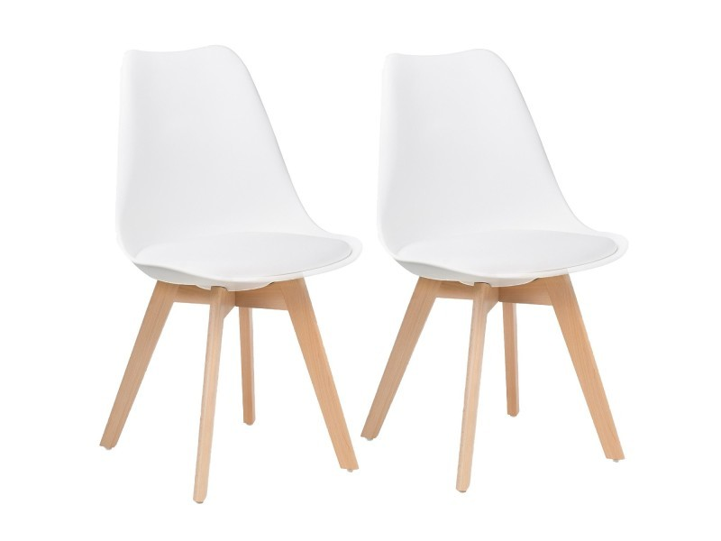 lot de 2 chaises design scandinave blanc skagen