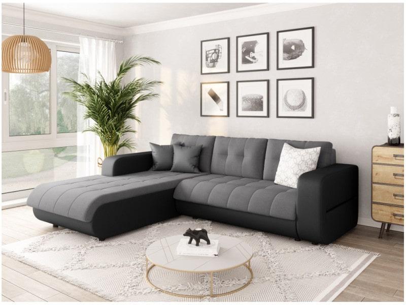 Canapé d'angle suzie convertible en simili et microfibre - angle gauche, gris / noir CELIAPUNRMFGRCG