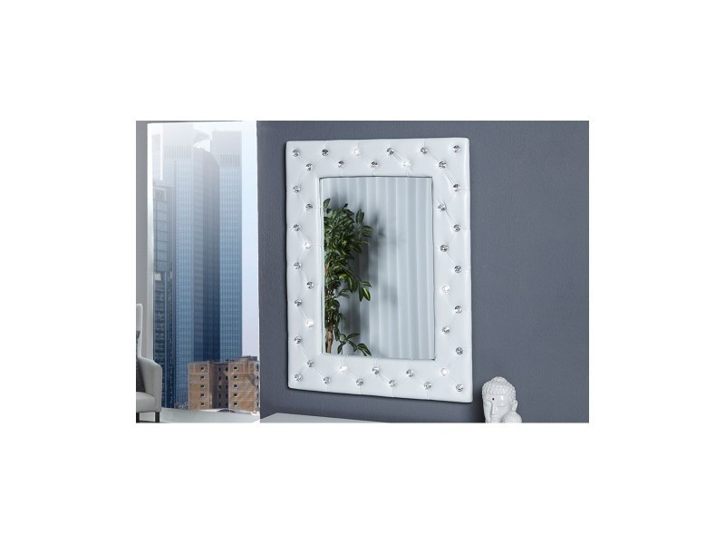 miroir capitonn strass simili cuir blanc - Miroir Mural Blanc Simili Cuir Strass