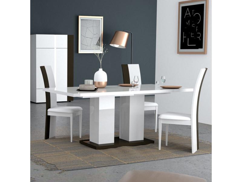 Table à manger blanche et grise laquée design santana - Vente de ...