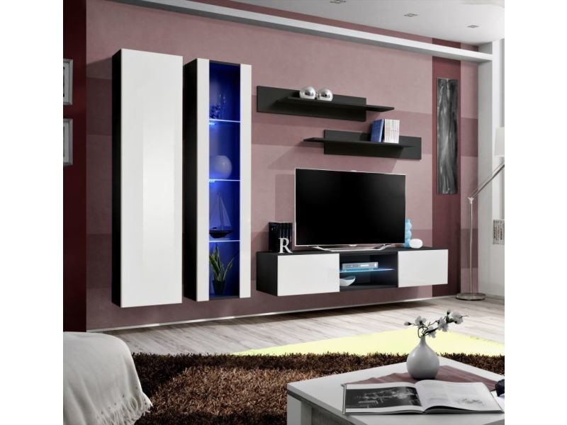 Ensemble meuble tv mural - fly o4 - 260 x 40 x 190 cm - blanc et noir