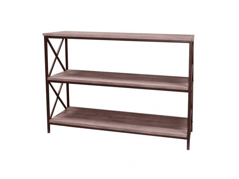Console design industriel effet bois massif country - l. 120 x h. 89 cm - noir